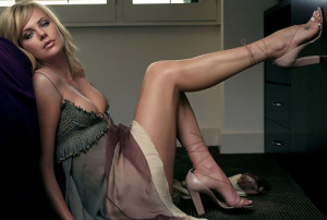 Charlize Theron, Skirt, Legs, Cleavage