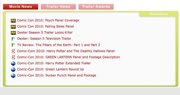 TrailerAddict, Newsdesk