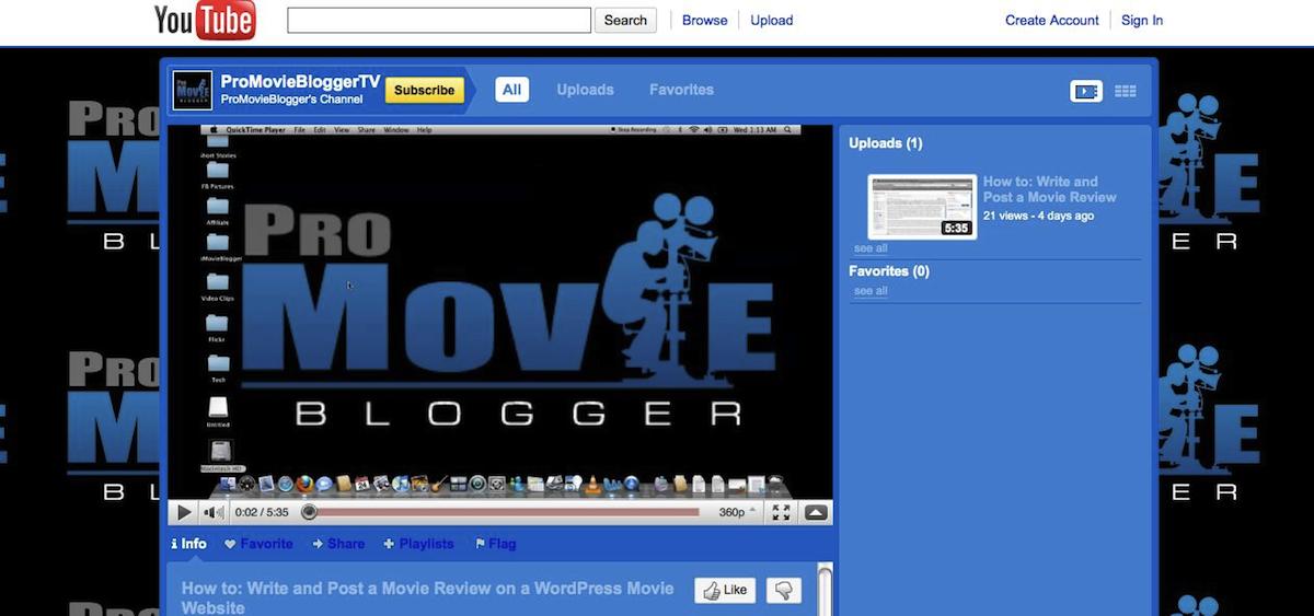 ProMovieBloggerTV, YouTube Channel