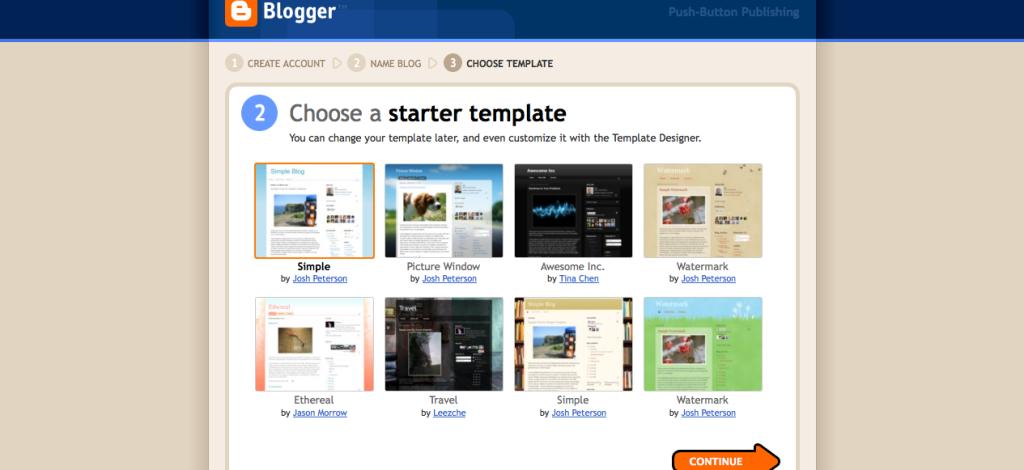 Blogger, Choose a Starter Template Screenshot