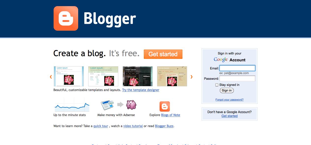 Blogger Sign Up Screen Shot