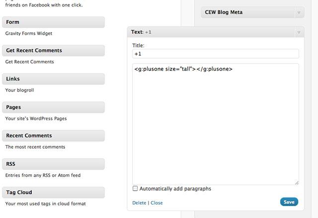 WordPress Widget, Google +1 Button