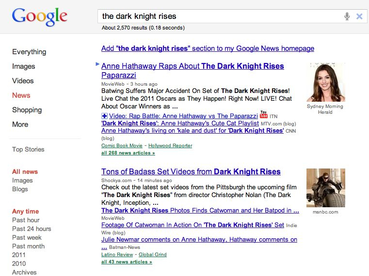The Dark Knight Rises Google News Search