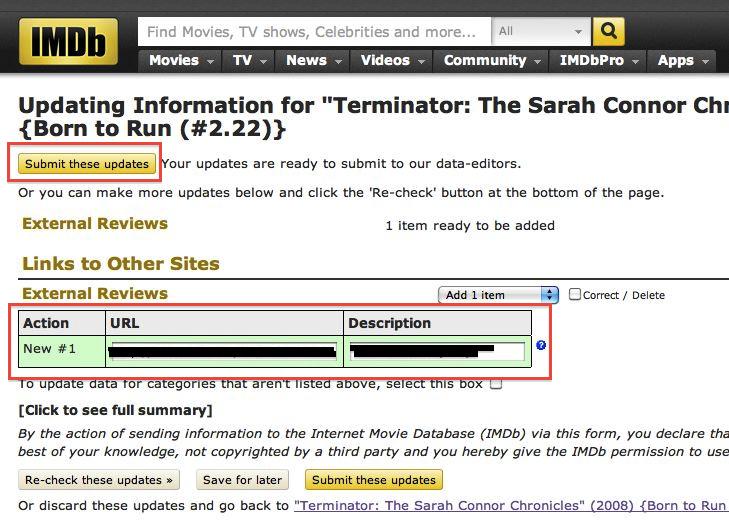 IMDb, SUbmitting Updates, External Reviews