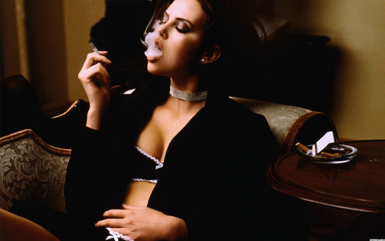 Charlize Theron, Smoking Cigarette, Black Lingerie