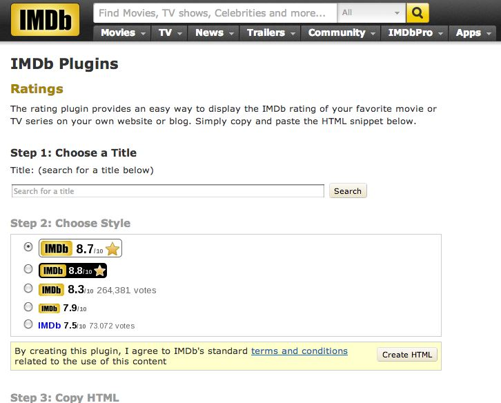 IMDb rating plugin