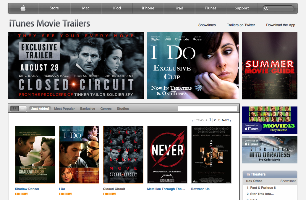 iTunes Movie Trailers Home Page